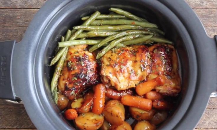 Poulet et légumes dans une sauce miel et ail... Laissez votre mijoteuse faire le boulot à votre place!
