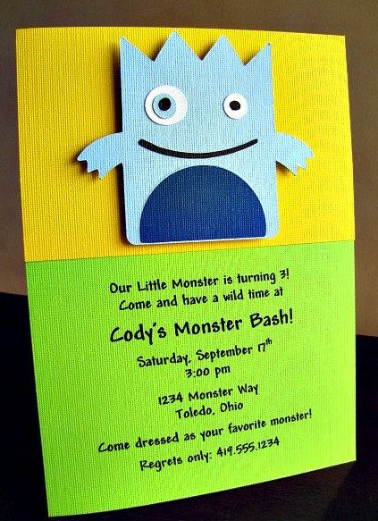 Little Monster Party Invitation by ScrapYourStory on Etsy, $2.25