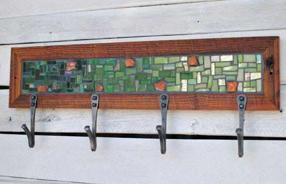 Mosaic Coat Rack Green Coat Rack Entryway Coat by PhoenixHandcraft