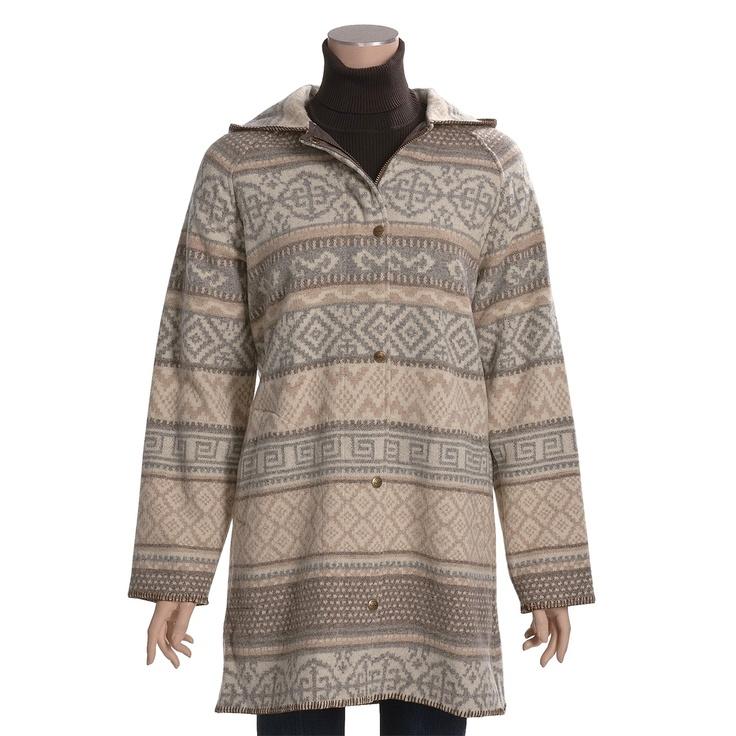 Woolrich Capote Hooded Coat - Wool Jacquard (For Women) in Khaki Stripe