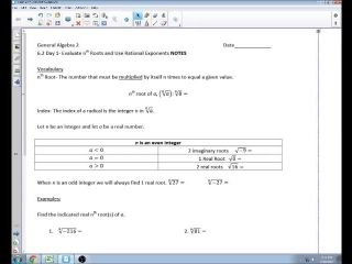 6.2 Day 1 Evaluate nth Roots and Use Rational Expo