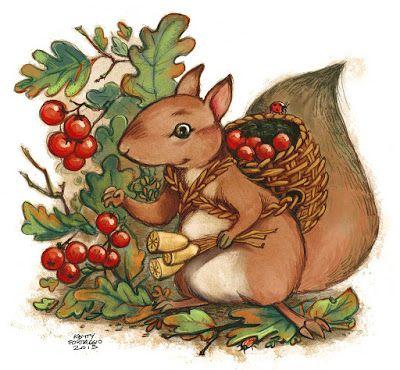 """Lo scoiattolo erborista """"squirrel herbalist"""" berries   http://kettyformaggio.blogspot.it/2015/10/lo-scoiattolo-erborista.html"""