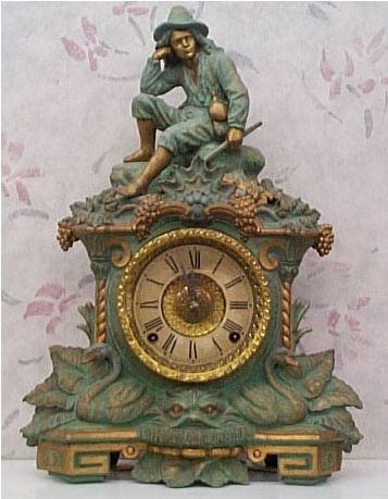U.S. Clock Co., ca.1870. Spelter case retains its original verde patina and is signed by the caster, Nicholas Muller of New York City.