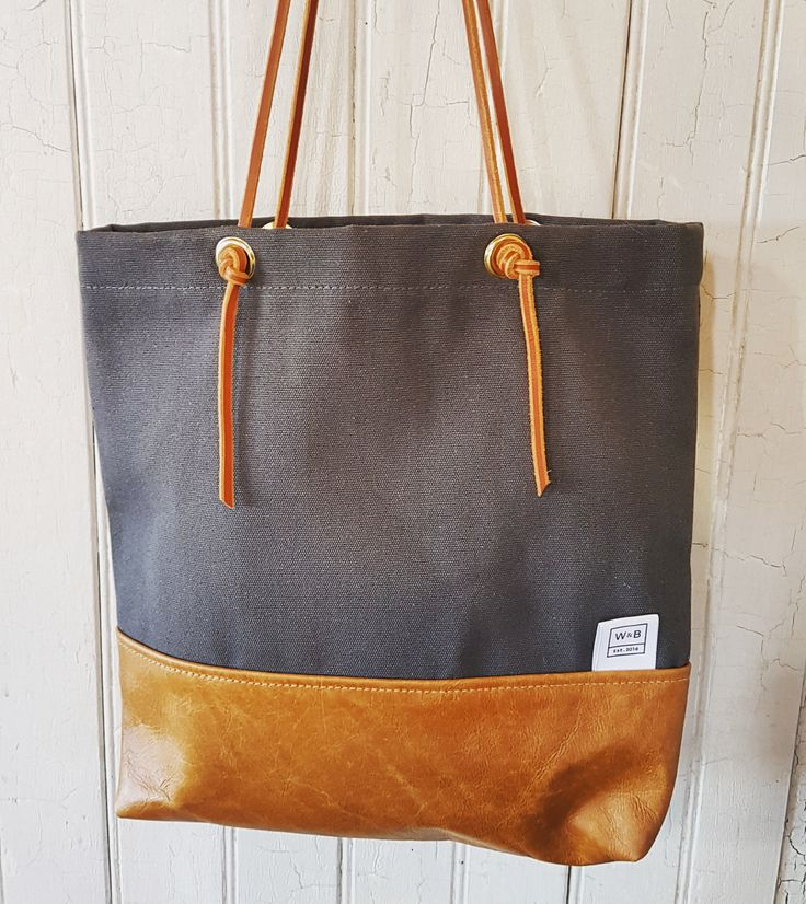 Canvas and Leather Tote - Grey and Tan - W & B
