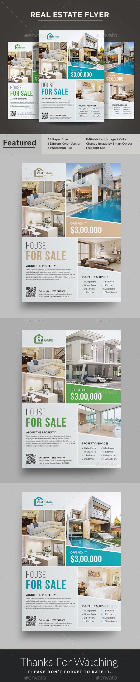 #Real Estate #Flyer Template is a great tool for promoting your real estate business also useful for a realtor or a real estate agent. You can use it for real estate listings, advertising homes or property for sale or houses for rent.  Fully editable template, you can add images of your choice and change the texts. You will get 3 Color versions. You can also use it as newspaper and magazine ad.