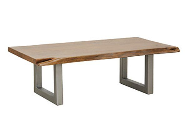 """Live Edge Hardwood Coffee Table With Steel Legs-Height: 18""""  Width: Approximately 30"""" (width will vary)  Length: 55"""""""