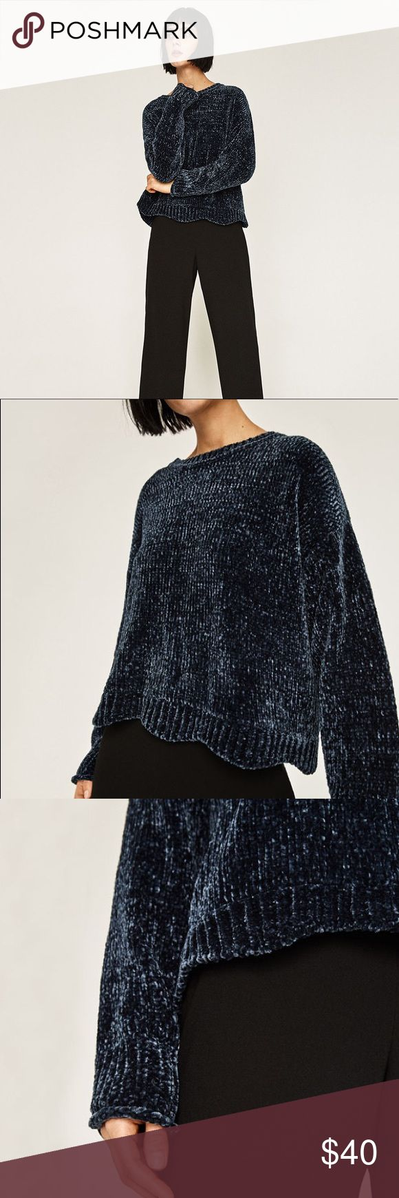 Flash sale!!👏🏼Zara extra soft navy blue sweater! This sweater is beautiful and probably the softest sweater i have felt. I have 2 of them so am giving this one a new home! They sold out online so if you missed a chance to buy this it's brand new with tags and I'll ship it in a Zara box! Thanks for looking! ❤️ Zara Sweaters Crew & Scoop Necks