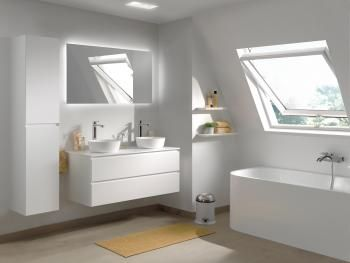 X2O | Balmani Mitra badkamermeubel lak plaatsbesparende diepte 46 cm met solid surface wastafel/ meuble salle de bain laquér profondeur réduite 46 cm avec tablette solid surface  #attic #small #bathroom #furniture - More? Visit www.x2o.be