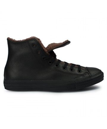 Adults Converse Chuck Taylor All Star Hi Black Leather Trainers