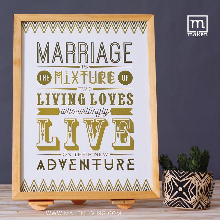OKT15-09 Marriage is the Mixture of Two Living Loves - Pernikahan bisa dikatakan sebagai percampuran 2 kehidupan cinta yang menjadi satu, kemudian bersama-sama menghadapi segala petualangan di dalamnya. Miliki desain ini sebagai kado pernikahan temanmu yuk!