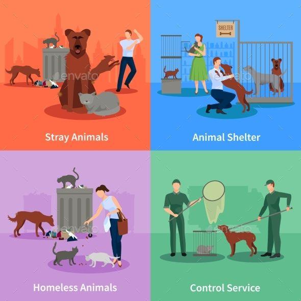 Stray Animals Icons Set Animal Icon Icon Set Icon