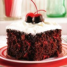 Cherry Chocolate Cake- made with cake mix, egg whites, and cherry pie filling.