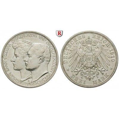 Deutsches Kaiserreich, Sachsen-Weimar-Eisenach, Wilhelm Ernst, 3 Mark 1910, Hochzeit mit Feodora, A, vz/vz-st, J. 162: Wilhelm Ernst… #coins