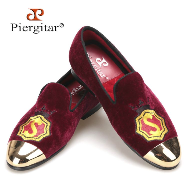 NEW Piergitar handmade women velvet shoes with gold metal toe and applique wine red color prom and banquet Loafers women's flats