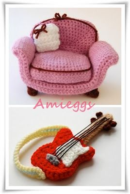 crochet furniture. I love the guitar. Maybe for a Christmas ornament?