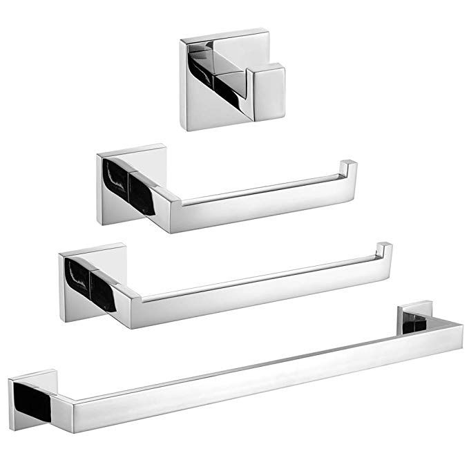 Velimax Bathroom Hardware Set Chrome Stainless Steel 4 Piece