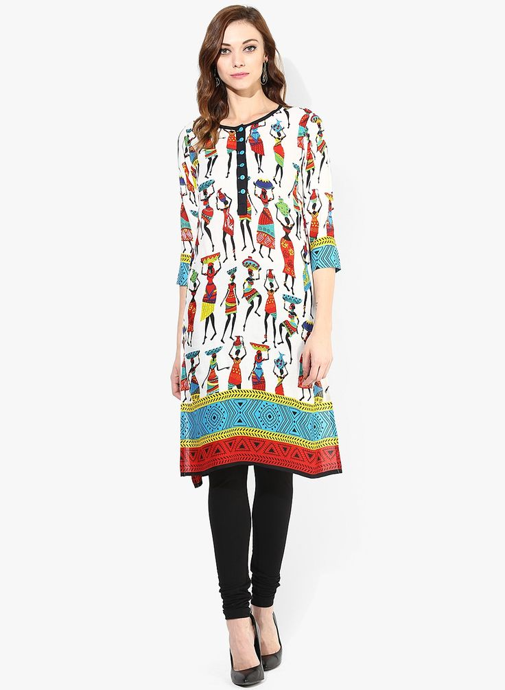 GO DESI! Stand out of the crowd with Indian ethnic patterns..  SHOP HERE--> http://www.jabongworld.com/off-white-kurta-2137336.html