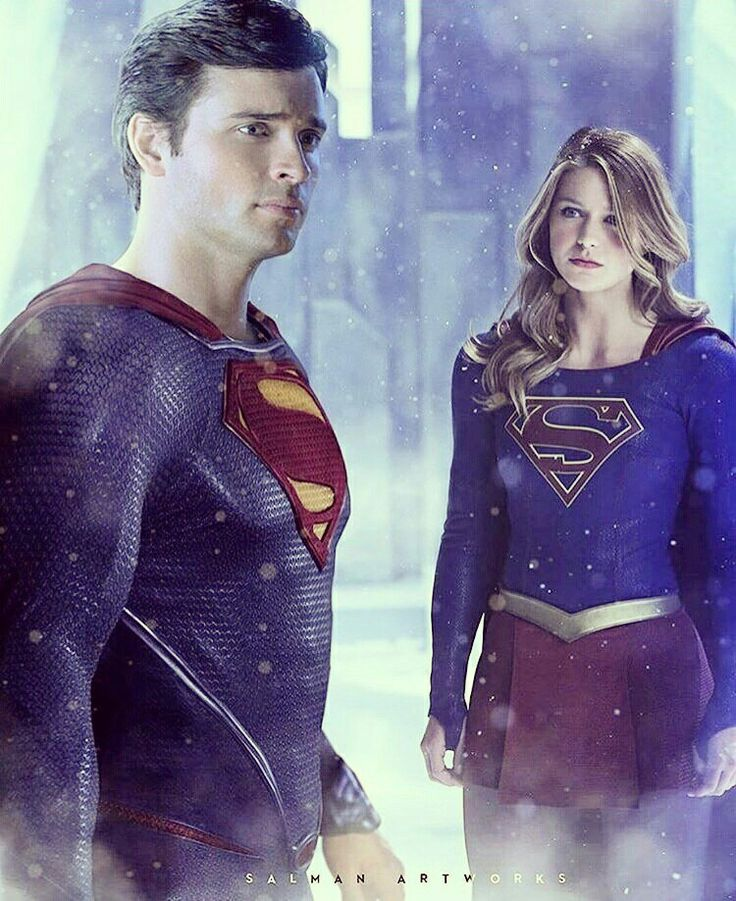 I think Tom Welling looks better in the suit than Cavill.  #Supergirl #Superman