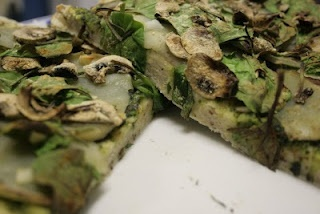 VEGAN - Spinach, Potato & Mushroom Seasoned Scone-Based Pizza with Pesto Sauce - experiment!