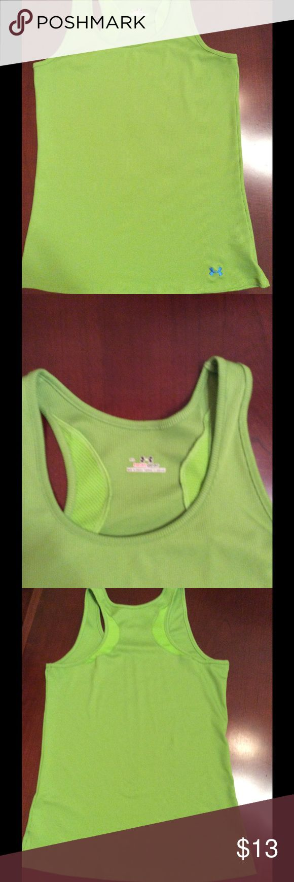 Women's Under Armour Lime Green Racer Back shirt GUC.  Smoke free home.  No stains or obvious signs of wear. Under Armour Tops Tank Tops