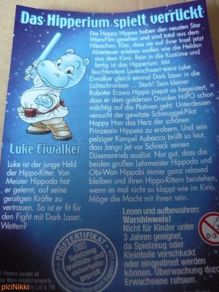 No. 31   víziló   hippo   Happy Hippo   Kinder   Luke Eiwalker   Star War
