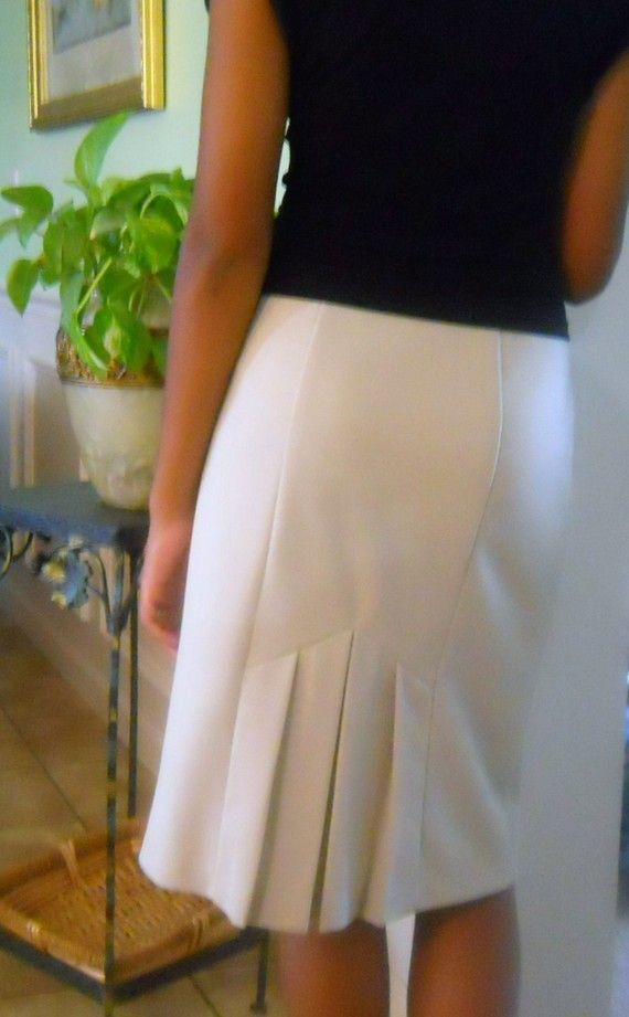 Items similar to Taupe Pencil Skirt with Pleated Back on Etsy
