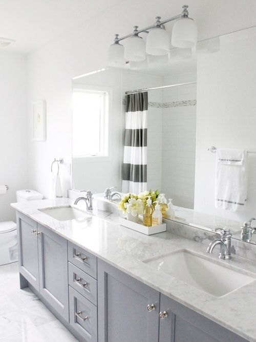 Home Ideas from KOHLER-grey cabinets