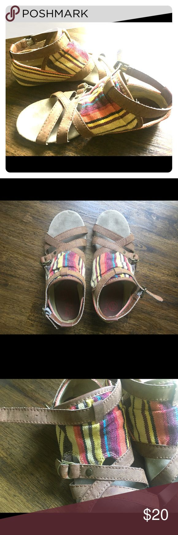 Big Buddha striped sandals Gently used -- one summer of wear. Colorful sandals with super soft soles and straps that feel like suede. Big Buddha Shoes Sandals