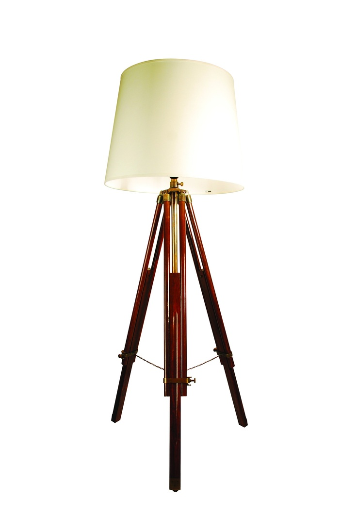 Ledbury Brown Wooden Tripod Lamp With Cream Shade 20 The Table Floor