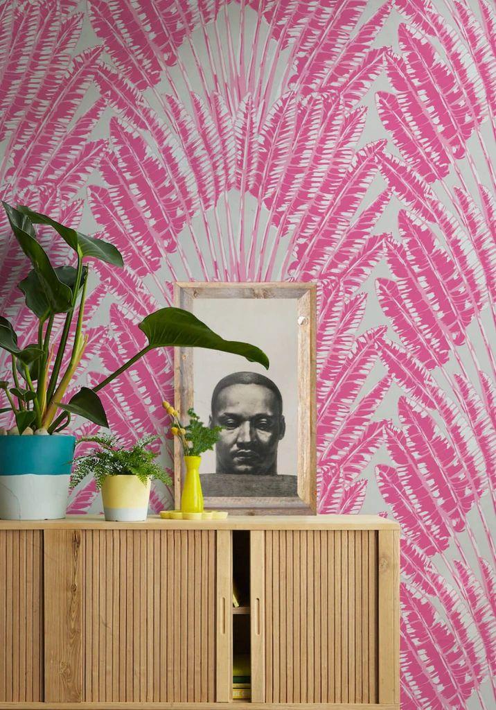 Accent Wallpaper, Palm Wallpaper, Wallpaper Ceiling, Tropical Wallpaper, Home Wallpaper, Black Wallpaper, Pink Wallpaper Bedroom, Eclectic Wallpaper, Trippy Wallpaper