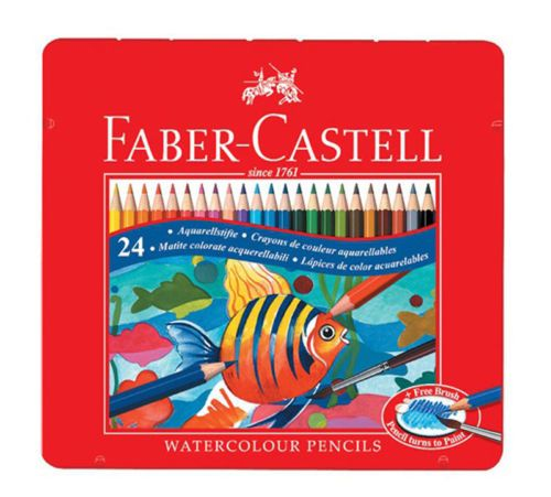Faber Castell WaterColor 24 Color Pencils Set Tin Case 115930