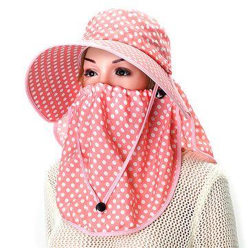 Women Anti-UV Sunshade Hat Face Neck Protective Polka Dot Printed Big Brim Outdoor Gradening Cap at Banggood