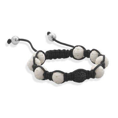 Adjustable Macrame Bracelet with Carved Bone and Crystal Beads MMAIntl. $32.25