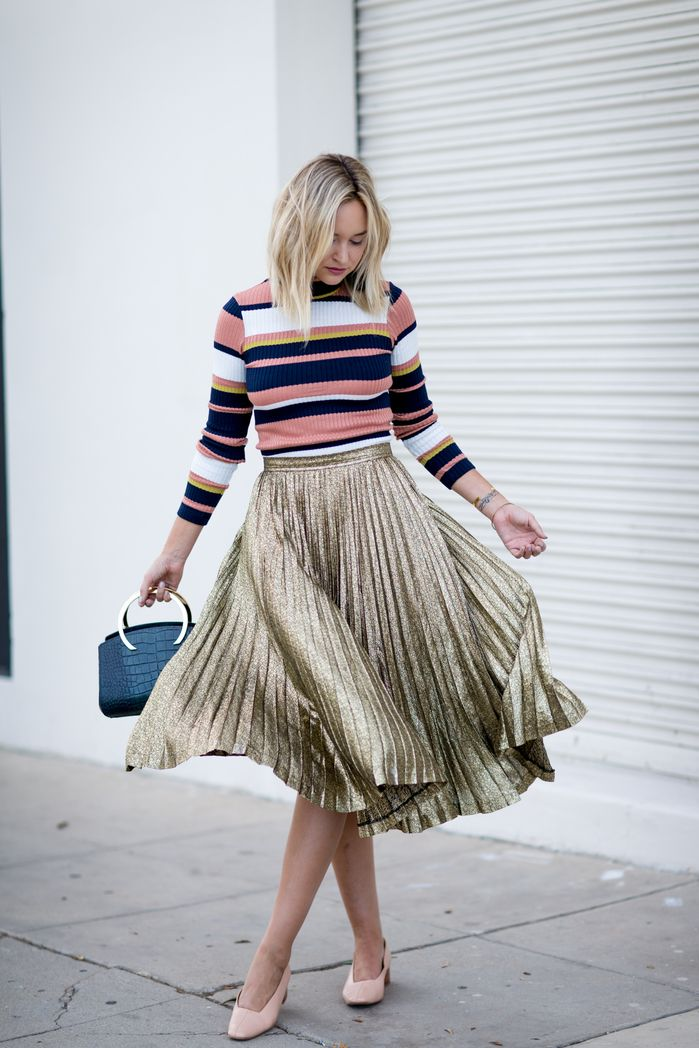 Gold Skirt Striped Sweater 2 Street Style Pinterest