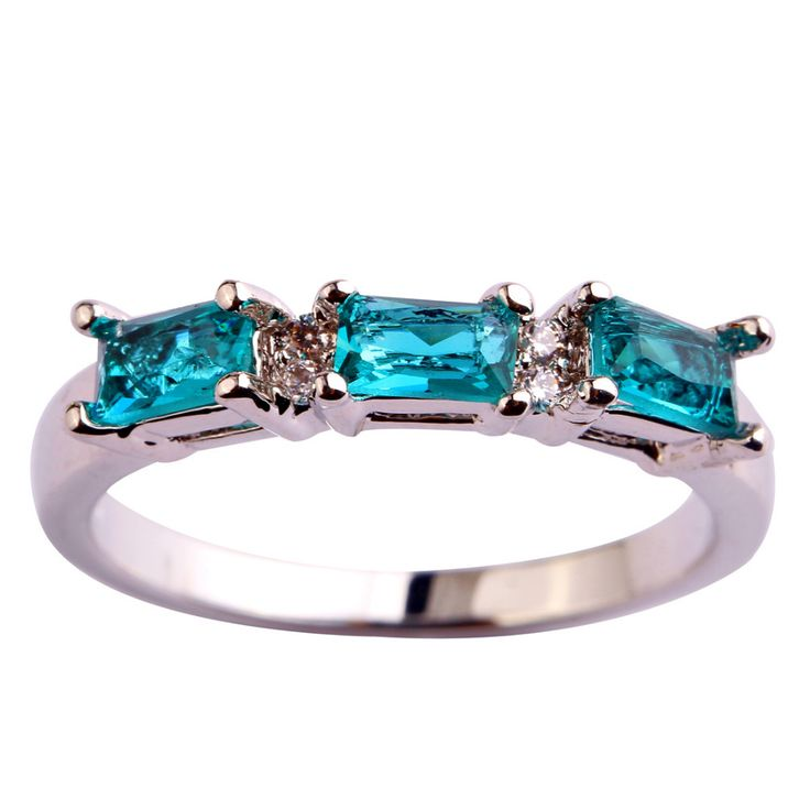 lingmei Wholesale Fashion Nice Jewelry Green & White CZ  Silver Color Ring Women Alluring Gift Size 6 7 8 9 10 11 12 Free Ship