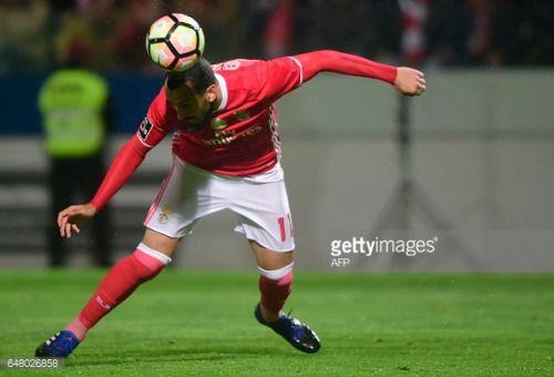 03-05 Benfica's Greek forward Konstantinos Mitroglou heads... #agioskonstantinosgr: 03-05 Benfica's Greek forward… #agioskonstantinosgr