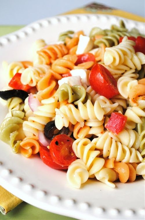 This is exactly how i make my pasta salad. You can even add salami or mozzerella. It's soooo good :) I'm hungry now :'(