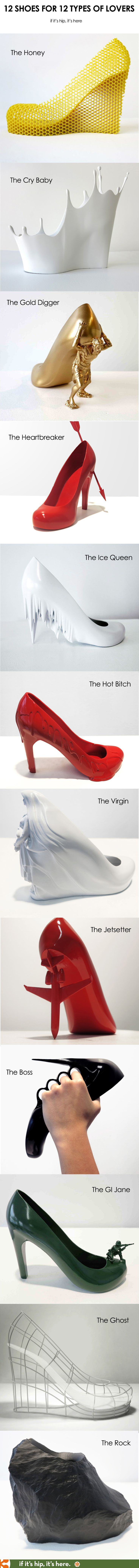 Artist designs 12 different shoes for 12 ex-girlfriends. Learn more at if it's hip, it's here.