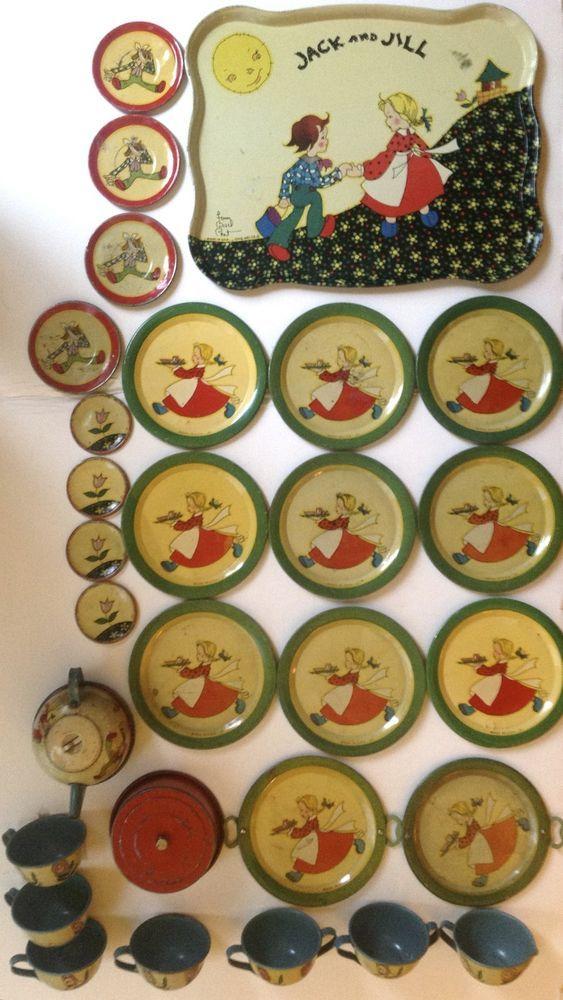 """Vintage 1939 Ohio Art tin-litho toy tea set Fern Bisel Peat """"Jack & Jill"""" #OhioArt"""