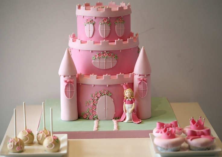 Princess Castle Cake - Perfect For A Little Girls Birthday -8659