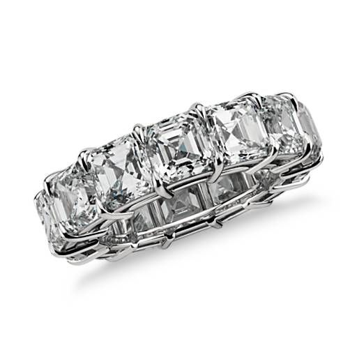 Asscher cut diamond eternity ring 10 ct size 5