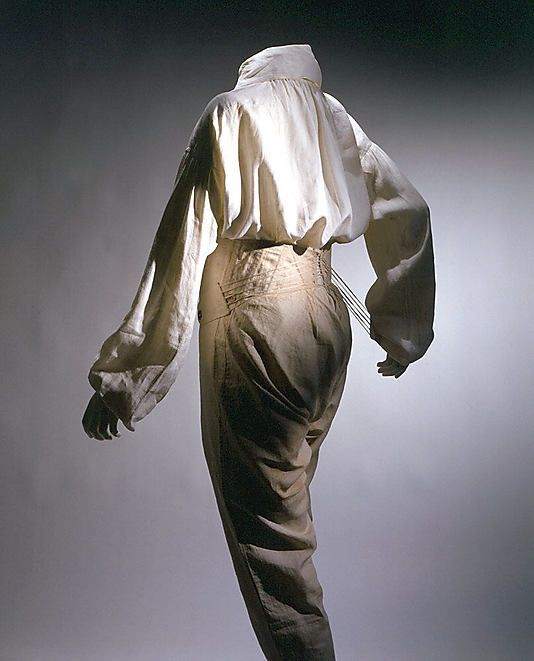 """c1830 Mens Underpants or smalls. With the lengthining in mens trousers as we leave the Regency era;  changing from breeches to pants so did their """"unmentionables"""".  The front view can be seen at http://www.metmuseum.org/collections/search-the-collections/80002462?rpp=20=1=on=*=Underwear=1"""
