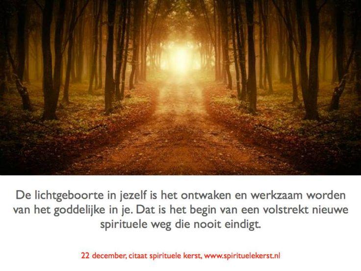 1. 22 december  De lichtgeboorte in jezelf is het ontwaken en werkzaam worden van het goddelijke in je. Dat is het begin van een volstrekt nieuwe spirituele weg die nooit eindigt.  http://www.spirituelekerst.nl/
