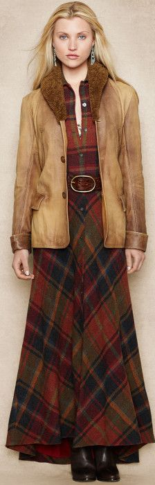 Ralph Lauren Blue Label ● Plaid Wool-Cashmere Maxidress + Distressed Leather Jacket.