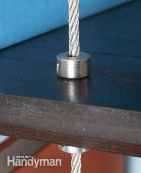 Suspender Shelves How To and close up of shaft collar and cable from top
