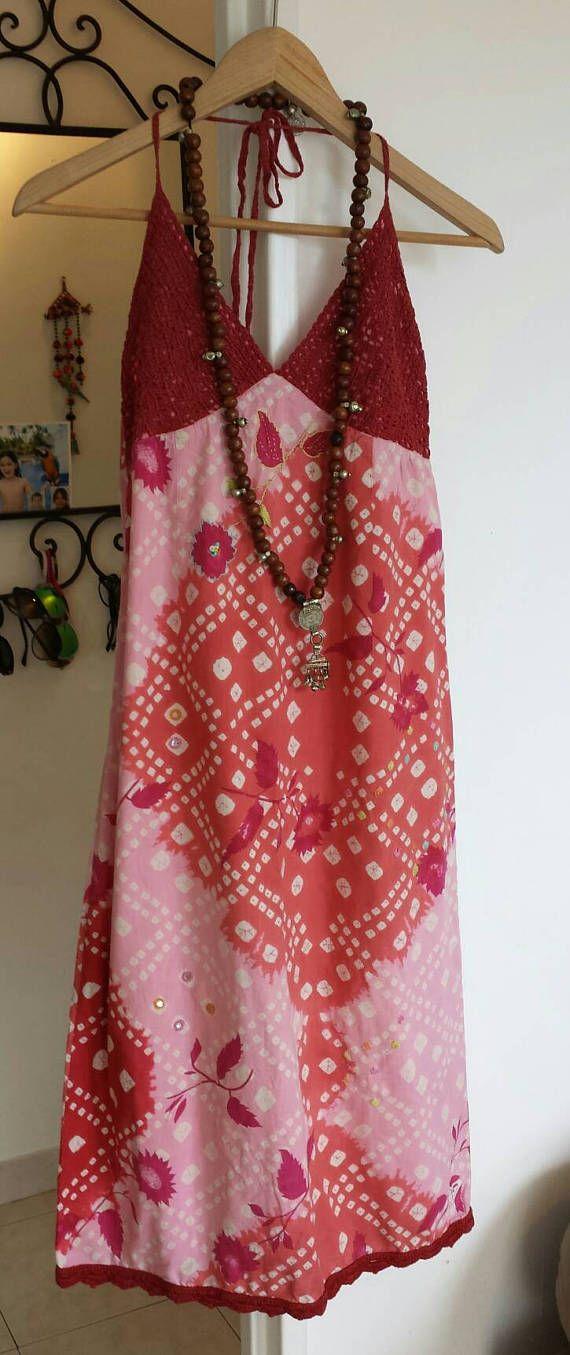 Retrouvez cet article dans ma boutique Etsy https://www.etsy.com/fr/listing/528339463/robe-coton-et-crochet-miroirs-robe