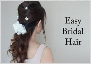 Easy Bridal, keeps hair out of your face, but still looks pretty and still down and curled :)