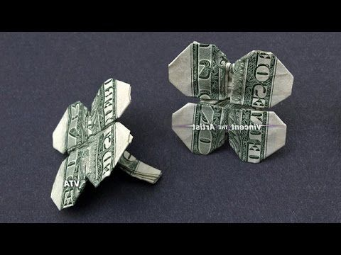 4-Leaf Clover made with $1 bill - Money Origami - Dollar Bill Art