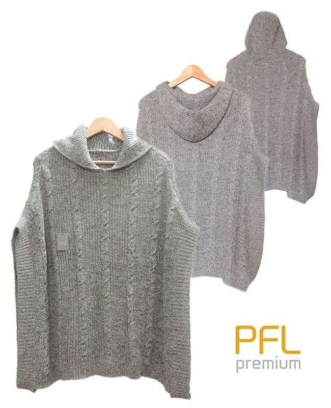 PFL knitted cape gray-marble, hoodie with a classic cable structure, rib structure at the edges. The cape is made in a wolblend of alpaca and acrylic warm for a warm and comfortable feeling.