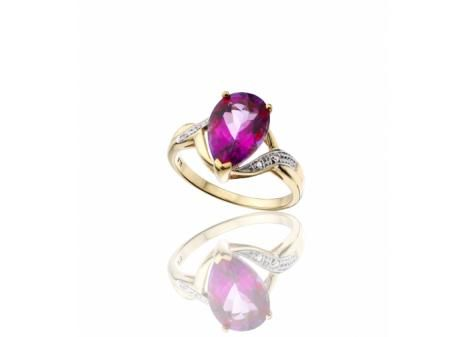 YELLOW GOLD MYSTIC PINK TOPAZ AND DIAMOND RING
